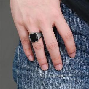 Black Square Resin Ring Mens Accessories